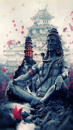 A stunning image of a tranquil Lord Shiva- the burst of colour in the blossoms/leaves gives it a compassionate aura! Shiva Shakti, Mahakal Shiva, Shiva Statue, Lord Shiva Hd Wallpaper, Shiva Tattoo, Shiva Angry, Lord Shiva Hd Images, Lord Shiva Pics, Lord Shiva Family