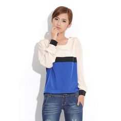 Color Block Splicing Design Long Sleeve Women's T-Shirt at DressLily.com