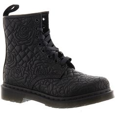 Dr Martens Brause Rose Quilted 8-Eye Boot ($140) ❤ liked on Polyvore featuring shoes, boots, black, black quilted shoes, dr martens footwear, dr. martens, rose shoes and rose boots