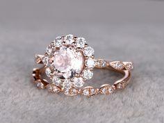 1.15 Carat Round Morganite Rose Gold Wedding Set Diamond Bridal Ring 14k Flower Halo Art Deco Antique Matching Band