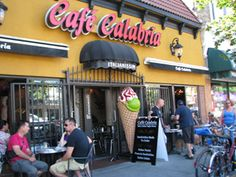 Cafe Calabria on the Drive - Vancouver BC, Canada. 'The Drive' is in the Italian part of Vancouver. Places To Eat, Great Places, Cafe Delight, Vancouver, Identity, Commercial, Canada, Victoria, Community