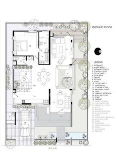 Villa Design, Modern House Design, Small Villa, Indian House Plans, Courtyard House Plans, Villa Plan, Architectural House Plans, Ground Floor Plan, Floating Wall