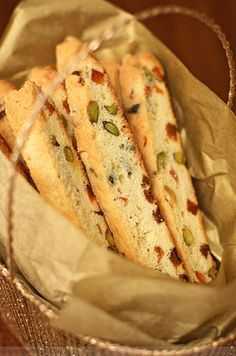 pistachio, apricot and orange flower water biscotti via baking obsession    Delicious food ideas to give as gifts this season! From cookies and candid to jarred recipes and more! Join me with your favorite recipes to give. Wed. 12.12.12 12pmEST    http://stagetecture.com/episode8