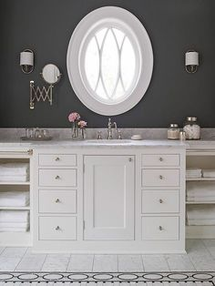 Check out these ideas for beautiful bathroom vanities. Get ideas for traditional bathrooms, plus more modern rooms. See how to use one vanity or a double vanity in your bathroom.