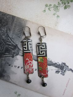 Tin Earrings Red Floral Black Graphic Tin by TheMadCutter, $28.00