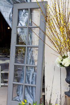 #seating-chart, #door  Photography: AltF Photography - earth13.com Event Design + Planning: XOXO BRIDE - xoxobride.com Floral Design: Blue Magnolia Floral & Event Design - bluemagnoliaevents.com  Read More: http://www.stylemepretty.com/2012/09/11/rancho-dos-pueblos-wedding-from-xoxo-bride-altf-photography/