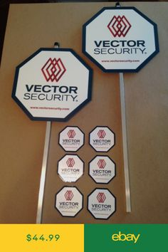 """Security Yard Signs Mounted on 30/"""" Stakes 8 Decals  Kit III"""