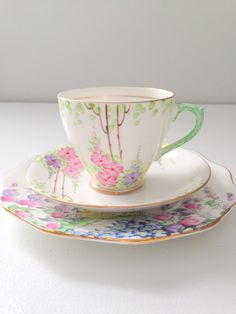 Vintage Fine Bone China Teacup, Saucer and Plate Trio Made in England Tea Party
