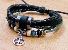 mens leather bracelets wristbands  for men women by lifesunshine, $6.99