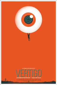 Alfred Hitchcock's Vertigo Movie Poster by Mondo-Poster by Ghoulish Gary Pullin. Best Movie Posters, Classic Movie Posters, Minimal Movie Posters, Cinema Posters, Movie Poster Art, New Poster, Art Posters, Classic Films, Print Poster