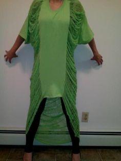 Shredded Dress Women's Tunic Dress Lime Green Sexy C-tru Fits All