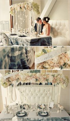 Beautiful Winter Wedding Centerpiece Inspiration for a Sweetheart Table complete with a cozy loveseat instead of two chairs for the newlyweds. Cheap Wedding Decorations, Wedding Themes, Wedding Events, Wedding Styles, Table Decorations, Wedding Photos, Wedding Rentals, Wedding Catering, Decor Wedding