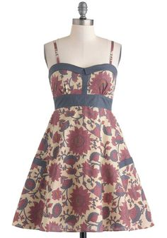 Flower Gathering Dress in City - Cotton, Mid-length, Red, Blue, Floral, Pockets, Daytime Party, Fit & Flare, Spaghetti Straps, Sweetheart, Tan / Cream, Variation, Boho