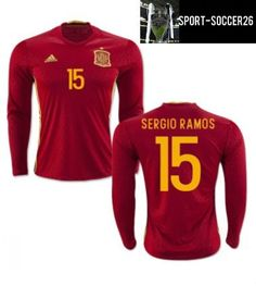 save off 7b378 4fedc 2016-2017 Spain Home Adidas Long Sleeve Shirt This product is 100%  polyester We
