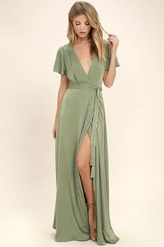 Lulus Exclusive! Gaze across the skyline in the City of Stars Sage Green Maxi Dress! Soft woven poly shapes a plunging surplice neckline and fluttering short sleeves. Fitted waist with tying sash tops a wrapping maxi skirt. Hidden back zipper/clasp.
