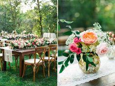 stunning utah weddings, gold vase wedding, farmhouse table garland, flower garland centerpiece, flower garland, utah wedding flowers calie rose www.calierose.com