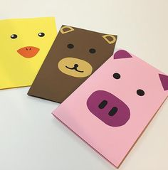 "Animal notebooks, Piggy, Bear, Ducky, Children's diary, lined journal, notebook with lines, 32 lined pages, 5.75""x8.75"""
