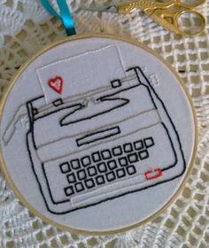 bordado máquina de escrever! - decoração sem marca