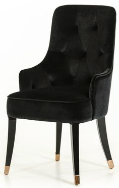 The A&X Larissa Modern Black Fabric Dining Chair is a well crafted chair perfect for not only dining room settings, but can also be used as in accent chair in living room, lobbies, lounge areas and offices. This modern dining chair is designed with a tufted backrest and detailed black piping all upholstered in black velvet fabric. The Larissa Modern Dining Chair features black gloss legs accented with rose gold feet.