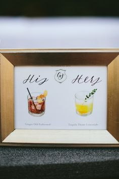 His & her signature cocktails: http://www.stylemepretty.com/2016/03/02/bel-air-ballroom-wedding-with-shades-of-green/ | Photography: Paige Jones - http://paigejones.us/