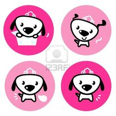 Buy Cute female dog with crown pink icons or buttons by BEEANDGLOW on GraphicRiver. Little dog princess collection. Princess Collection, Pink Dog, Pink Design, Little Dogs, Cute Pink, Vector Art, Original Artwork, Hello Kitty, Arts And Crafts