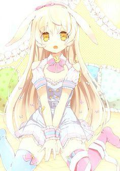 Anime girl, , blonde hair, , golden eyes, , long hair, , sitting, , bunny ears, , pink ribbon, , long tights, , pillows, , bed, , kawaii