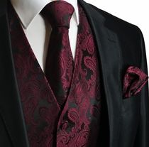 burgandy vests for men | Burgundy a. Black Men's Tuxedo Vest Set (Q20-U)