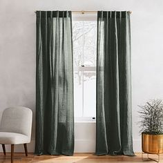 30 French Country Bedroom Design and Decor Ideas for a Unique and Relaxing Space - The Trending House Curtains Living, Velvet Curtains, Green Bedroom Curtains, West Elm Curtains, Sheer Linen Curtains, Dark Curtains, Striped Curtains, Linen Bedroom, Bed Linen