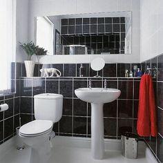 Black Bathroom Tile with White Bathroom Vanity