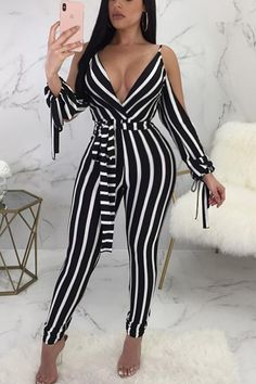 Low Cut Striped Open Shoulder Tied Skinny Jumpsuit - Fashion Able Backless Jumpsuit, Black Jumpsuit, Jumpsuit Shorts, Elegant Jumpsuit, Bodycon Jumpsuit, Ladies Jumpsuit, Sequin Jumpsuit, Romper Pants, Sexy Outfits