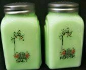 """Garden Gate Jadeite Green Milk Glass Salt & Pepper Shaker Set by Trail Town Finds. $20.99. Solid Green Milk Glass Jade Jadiete. Measures 3 3/4"""" tall.  Grip Nicely as they are square with fantastic arch designs on the sides.  Shiny metal tops and Fantastic Graphics that are hand fired on in Pennsylvania.. Save 48%!"""