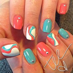 summer nails (I couldn't decide whether the coral or the robin's egg blue was the focal color, hence, multicolored)