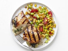 Pepper-Jack Chicken With Succotash Recipe