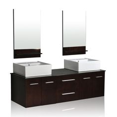 Add elegance and sophistication to any bathroom with this 'Colonial' vanity from Belmont Decor. An espresso finish and natural stone countertop highlight this luxurious double vessel sink vanity.