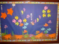 Inspired by undersea bulletin board on pinterest, created an undersea board for August.