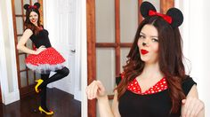 DIY Minnie Mouse Halloween costume! Ears, shoes, and dress! NO SEW. Video tutorial!