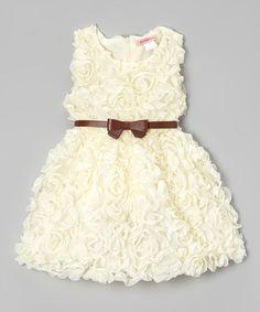 Love this Ivory Rosette Dress - Toddler & Girls by Paulinie on #zulily! #zulilyfinds