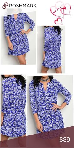 Arriving 3/2 LONG SLEEVE GEO PRINT V NECK LOOSE FIT DRESS Fabric Content: 96% POLYESTER 4% SPANDEX Dresses