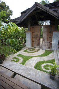 concrete and moss patterned courtyard