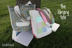 noodlehead: the library tote tutorial ~ A great tutorial for a simple and ever useful tote! The possibilities are endless with thousands of fabrics to choose from at the Fabric Shack at http://www.fabricshack.com/cgi-bin/Store/store.cgi