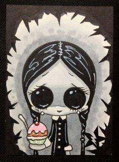 Sugar Fueled Wednesday Addams Halloween Horror lowbrow creepy cute big eye ACEO mini print on Etsy, $4.00