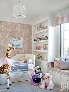 Sneak storage into your kids room anywhere you can. In this room, drawers built under the window seat and bed provide handy places to keep toys at child level. A large built-in shelving unit displays favorite collectibles.