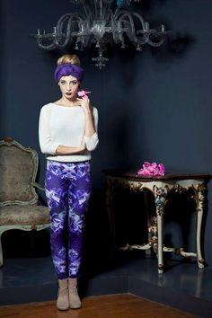 Crystal printed leggings in purple and white by ZOEleggings, $55.00