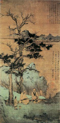 元代 - 趙孟頫 - 松陰高士圖               Zhao Mengfu (1254–1322), was a prince and descendant of the Song Dynasty's imperial family, and a Chinese scholar, painter and calligrapher during the Yuan Dynasty.