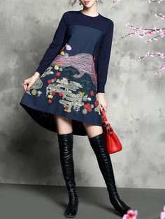 Sicheng.Lisha Embroidery Knitting Midi Dress