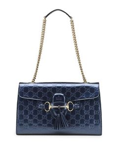 Emily+Guccissima+Leather+Shoulder+Bag,+Blue+by+Gucci+at+Neiman+Marcus.