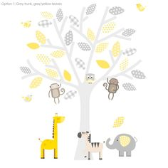 Grey And Yellow Safari Fabric Wall Stickers