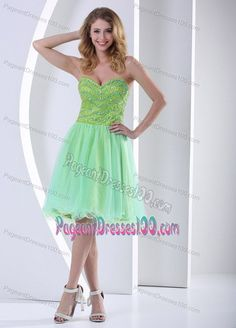 Beaded Yellow Green Knee-length Natural Beauty Pageants Dress