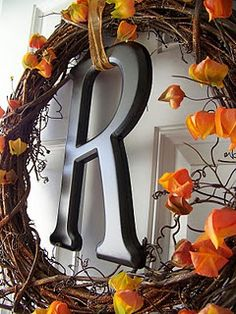 Autumn Wreath - but i'd like to make a christmas one with an H
