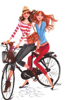 Izak Zenou #izak  #trafficnyc #twins #bicycle #paris #watercolor #fashionillustration #henribendel